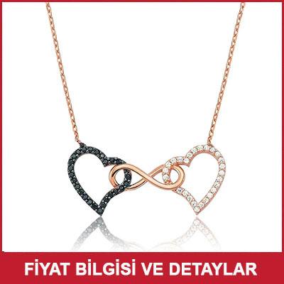 Sevgiliye Romantik Hediye İki Kalp Kolye