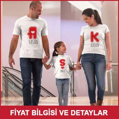Aşk Yazılı Aileye Özel 3 lü Tişört Seti