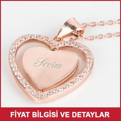 İsim Yazılı Hareketli Romantik Kalp Kolye