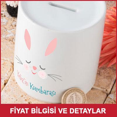 Çocuklara Sevimli Tavşancık Tasarımlı İsme Özel Kumbara