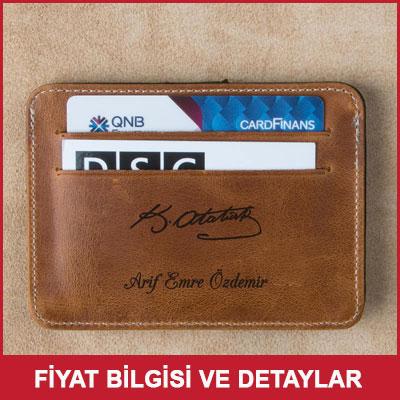Atatürk İmzalı İsme Özel Deri Kredi Kartlık