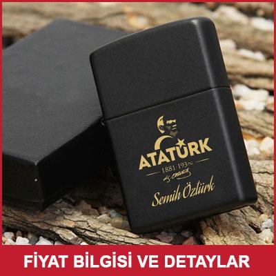 Atatürk Tasarımlı İsme Özel Mat Siyah Zippo Çakmak