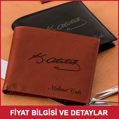 Atatürk İmzalı Deri Cüzdan